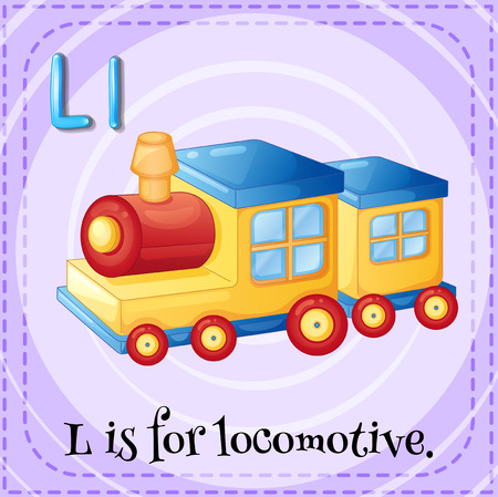 toy train: Illustration of an alphabet L is for locomotive Illustration