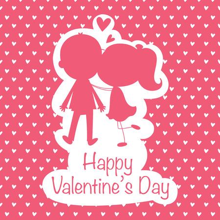 innamorati che si baciano: Illustrazione di amanti baciare su una scheda di San Valentino Vettoriali