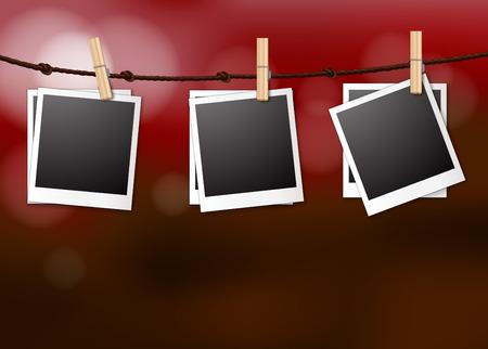 Hanging photo frames Illustration