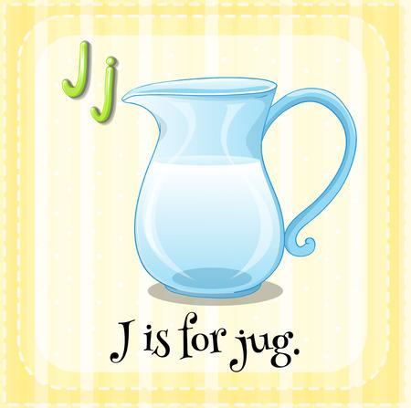 water jug: Illustration of a letter J is for jug