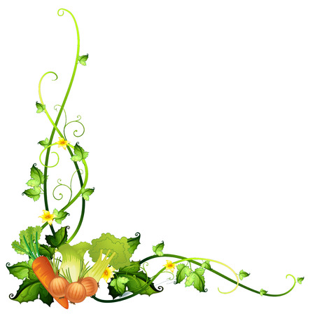 A vegetable border template on a white background Stock Illustratie