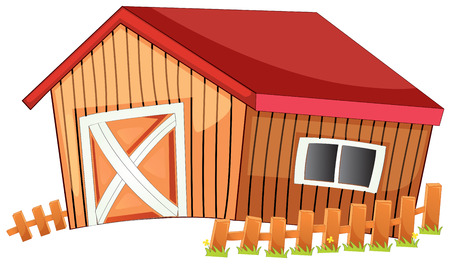 Illustration of a close up barn