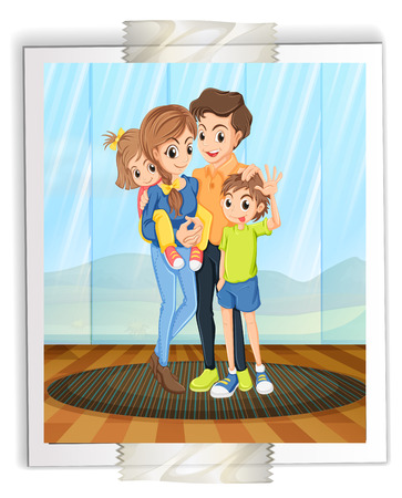 siblings: Illustration of a photograph of a lovely family