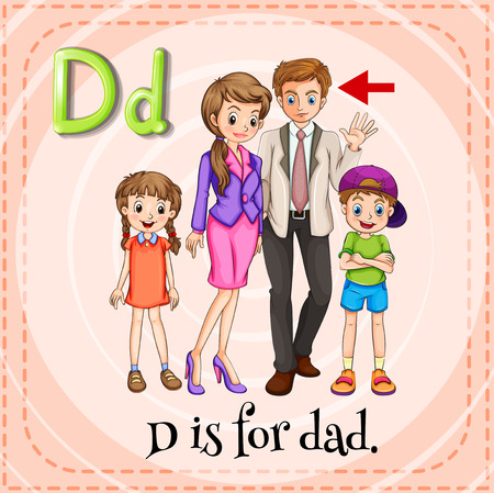 family picture: Illustration of a letter d is for dad
