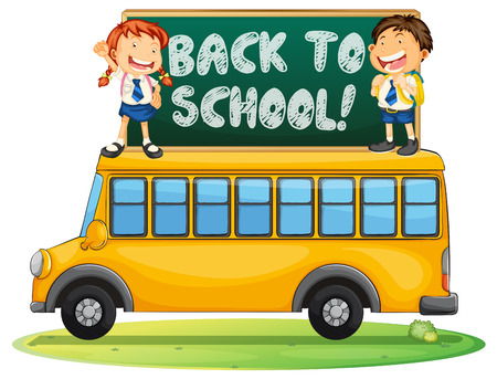 cartoon school girl: Illustration of a back to school sign and a school bus