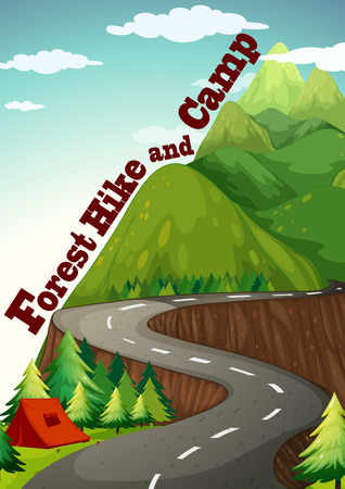 camping site: Illustration of a road to the camping site