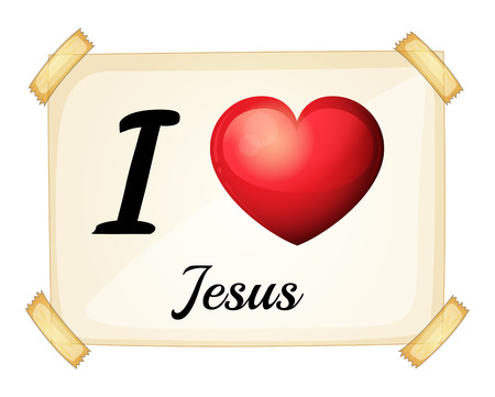 A flashcard showing the love of Jesus on a white background Illustration