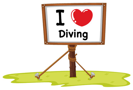 nailed: Illustration of I love diving sign Illustration