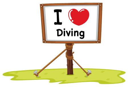 nailed: Illustration of I love diving sign Illustration