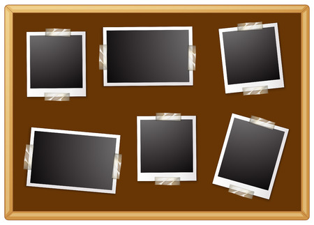 photgraphy: Illustration of six photo frames sticking on a board