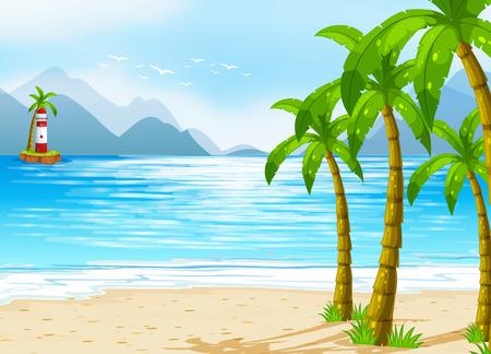 parole: A beach with a lighthouse Illustration