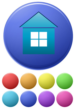 Illustration of different color icons of house Vector