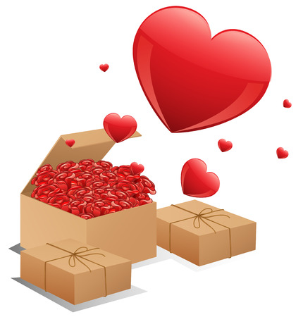 Illustration of three boxes of roses with hearts Illustration