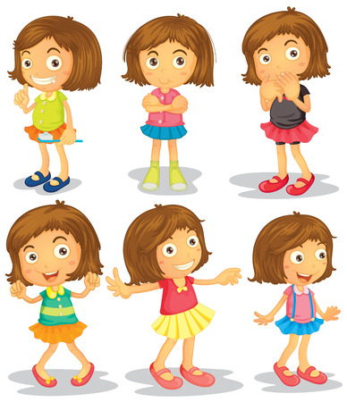 Illustration of a girl with different poses Vector