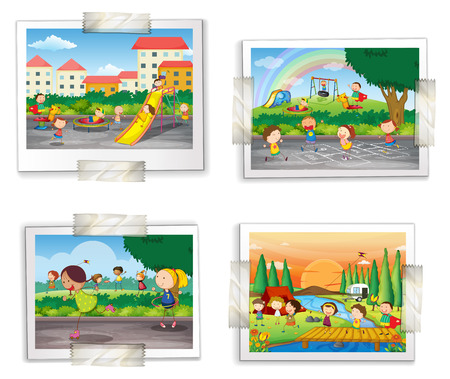 Illustration of four photos of childhood memory Ilustração