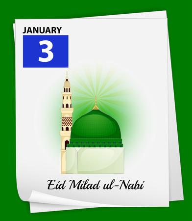 believes: Illustration of January 3 is Eid Milad ul-Nabi