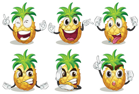 Illustration of pineapple with facial expressions Illustration