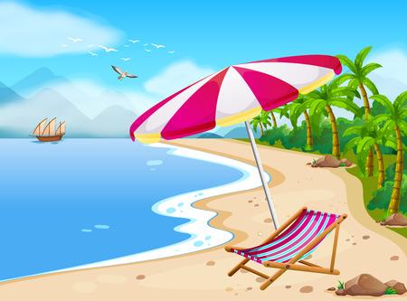 barco caricatura: Ilustración de una vista a la playa con el paraguas