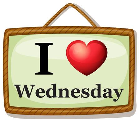 wednesday: Illustration of I love Wednesday