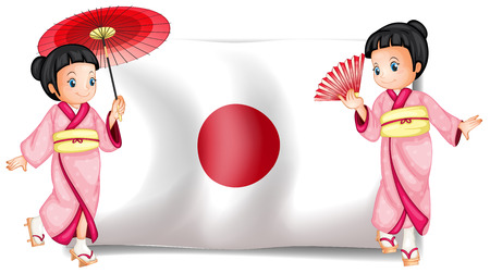 signal device: Illustration of two japanese girls and a flag Illustration