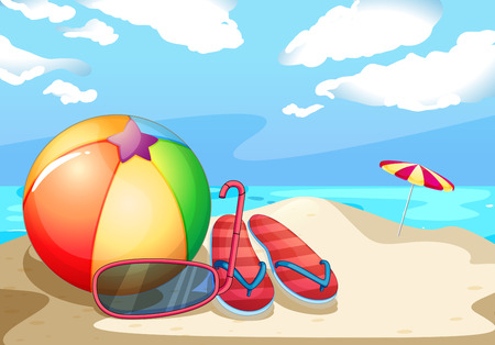 sandles: Illustration of beach equipments on the sand Illustration