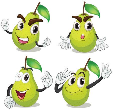expresiones faciales: Ilustraci�n de la pera con las expresiones faciales