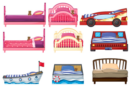 cartoon bed: Illustration of different bed design