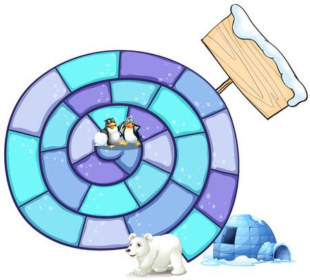northpole: Illustratie van een puzzelspel met pinguïn en ijsbeer