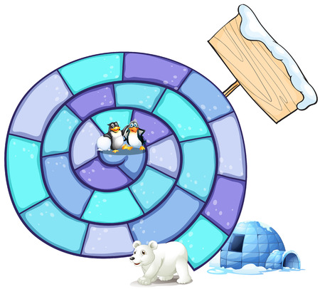 northpole: Illustration of a puzzle game with penguin and polar bear