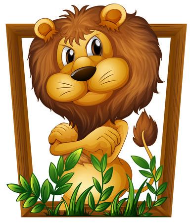 drawing up: Illustration of a lion in a frame Illustration