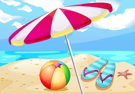 Illustratie van uitzicht op het strand met umbrealla en beachball