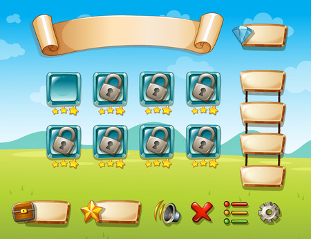 button grass: Illustration of a game template with field background Illustration