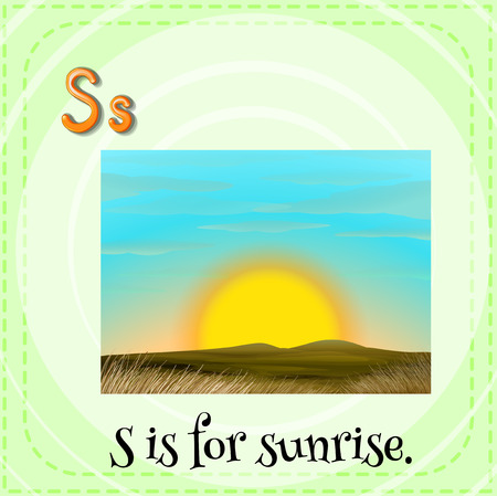 Illustration of a letter S is for sunset Vector
