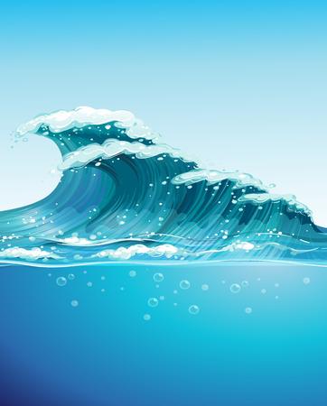 granola: Ilustración de una gran ola gigante Vectores