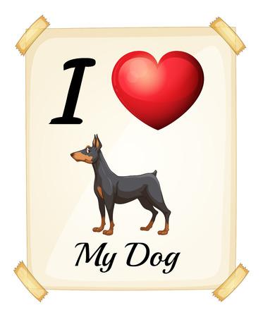 square shape: Illustration of i love my dog sign