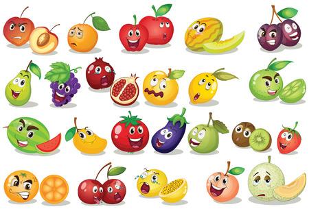 limon caricatura: Ilustraci�n de diferentes tipos de frutas