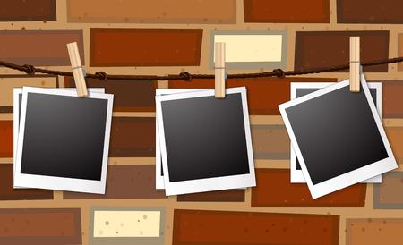 photo frames: Illustration of photo frames hanging