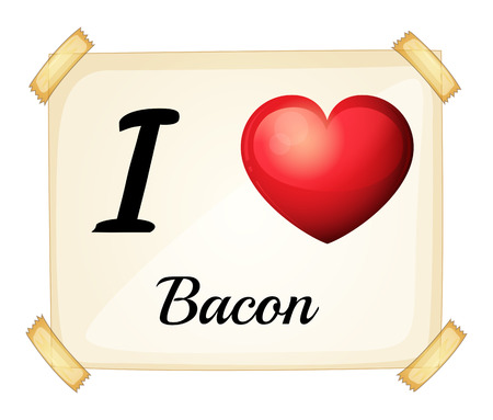 bacon love: Illustration of i love bacon sign