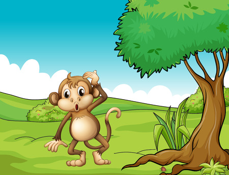 scratching: Illustration of a monkey standing under the tree Illustration