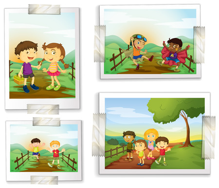 Illustration of four photos of children Vector