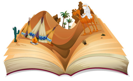 open flame: Illustration of a book of desert Illustration