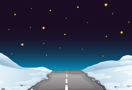 rural road: Illustration of a road covered by snow at night