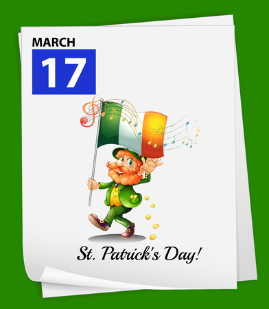 march 17: Illustration of March 17 is St.Patricks day
