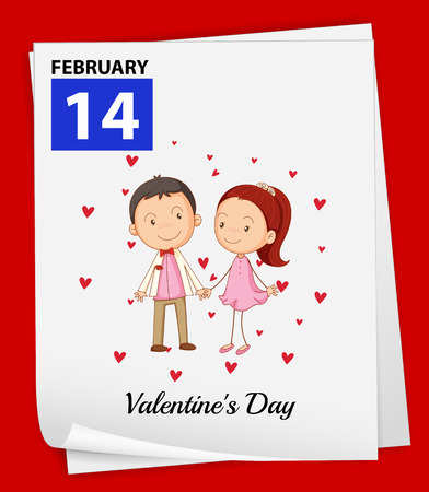 14 february: Illustration of February 14 is Valentines Day