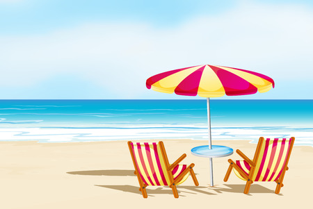 outdoor seating: Illustration of beach view with seats and umbrella