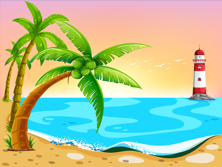ocean cartoon: Illustration of beach view with lighthouse