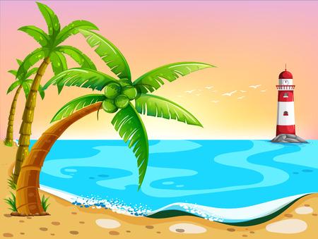 Ilustración de la vista a la playa con el faro Foto de archivo - 36430932