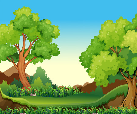 Illustration of a forest view at daytime Vettoriali