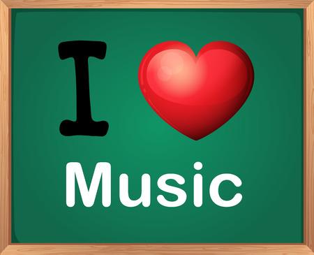 Illustratie van Ik hou van muziek teken Stock Illustratie