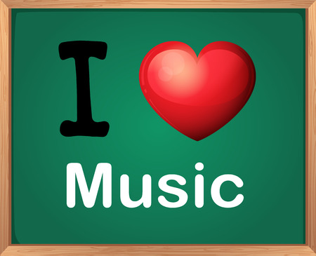 Illustration of I love music sign Illustration